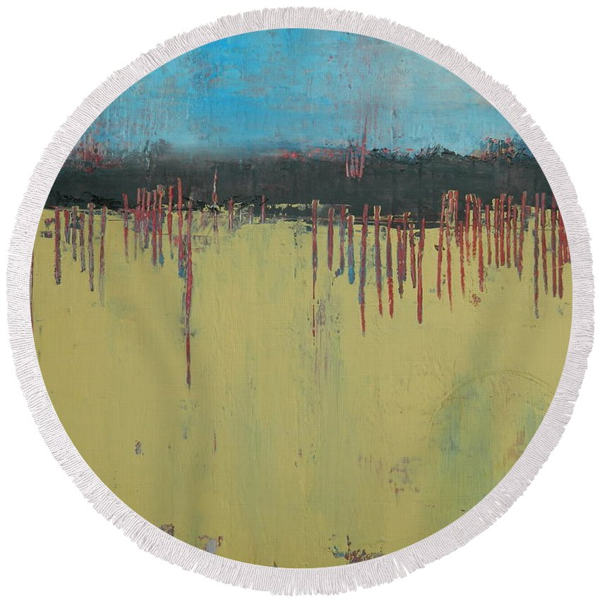Abstract Round Beach Towel featuring the painting Bleu by Kate Marion Lapierre