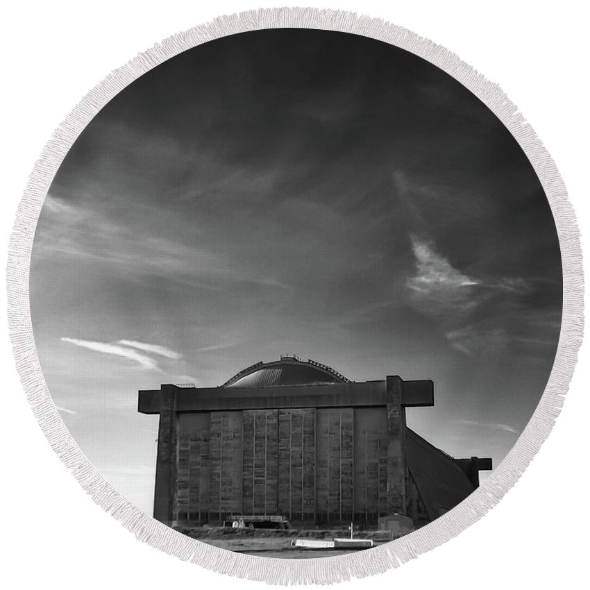 Buildings Round Beach Towel featuring the photograph Blimp Hangar At Tustin by Guy Whiteley