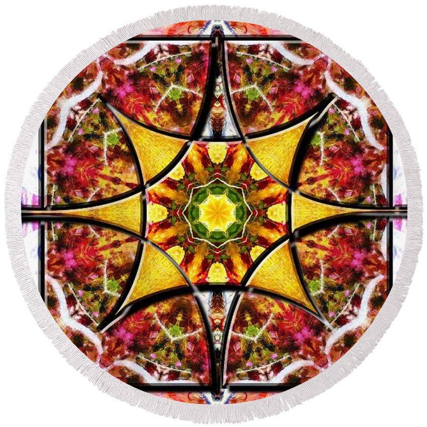 Sacredlife Mandalas Round Beach Towel featuring the digital art Blissful Ascension by Derek Gedney