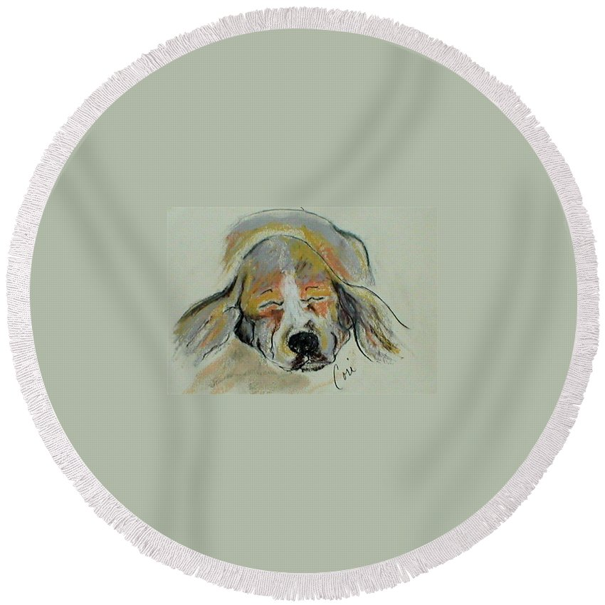 Basset Hound Round Beach Towel featuring the drawing Blissful Dreams Iv by Cori Solomon