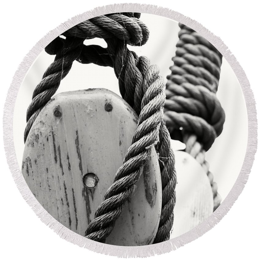 Black And White Round Beach Towel featuring the photograph Block And Tackle Of Old Sailing Ship by Jan Brons