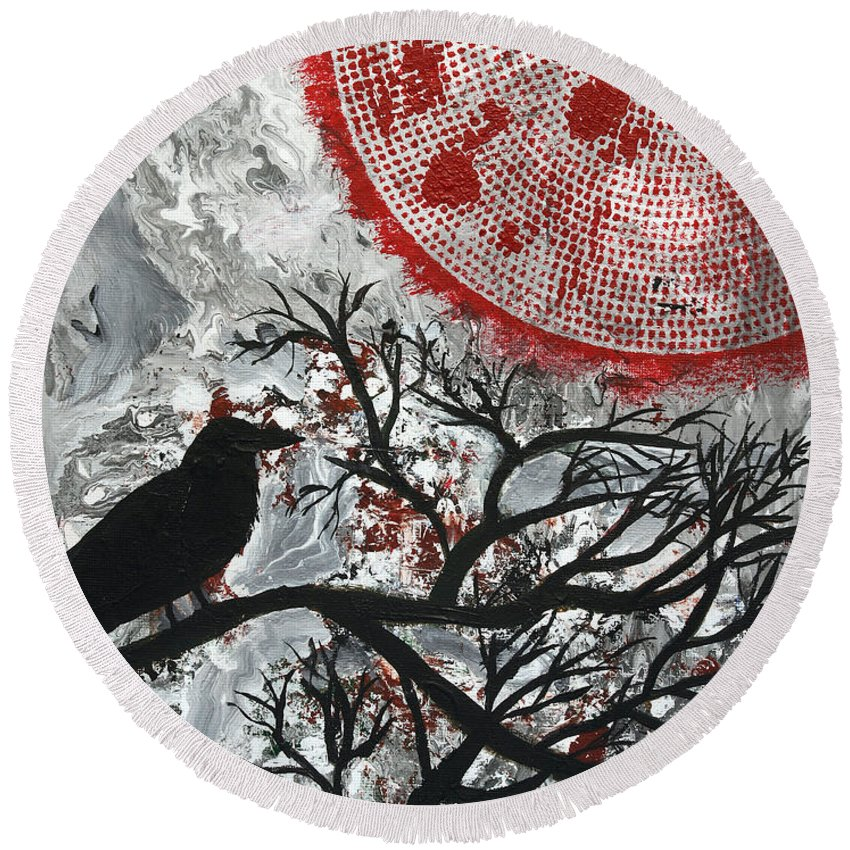 Bird Round Beach Towel featuring the painting Blood Moon by Maura Satchell