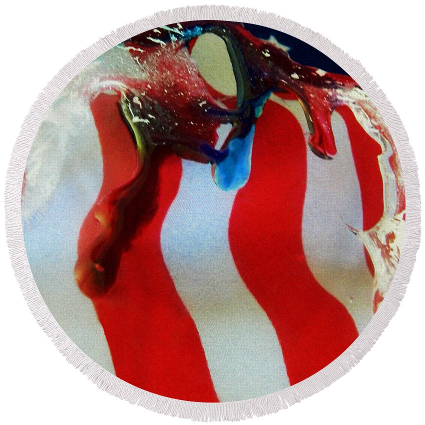 Red Round Beach Towel featuring the photograph Blood Sweat And Tears Fallen For Freedom by Dawn Marshall