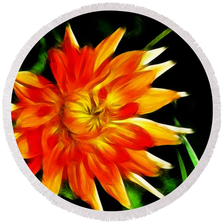 Flowers Round Beach Towel featuring the digital art Bloom Tine by Bobbie Barth