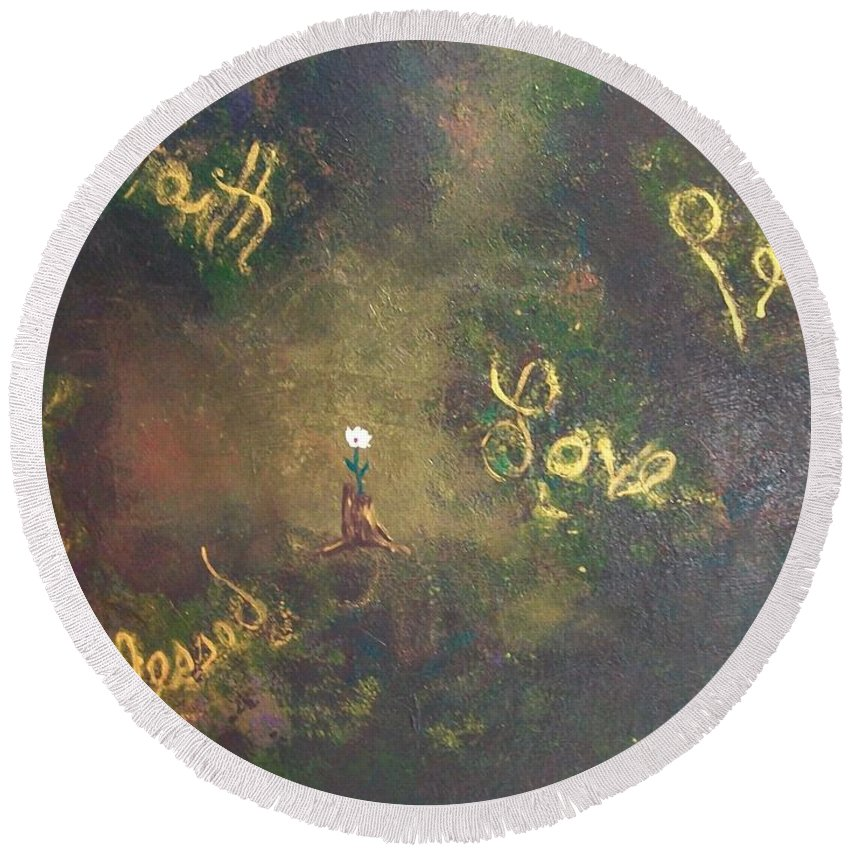 Laurette Escobar Round Beach Towel featuring the painting Bloom Where You're Planted II by Laurette Escobar