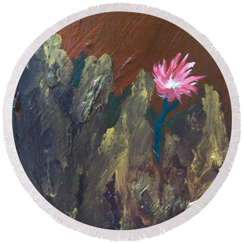 Laurette Escobar Round Beach Towel featuring the painting Bloom Where You're Planted by Laurette Escobar