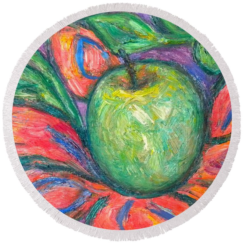 Apple Paintings Round Beach Towel featuring the painting Blooming Apple by Kendall Kessler