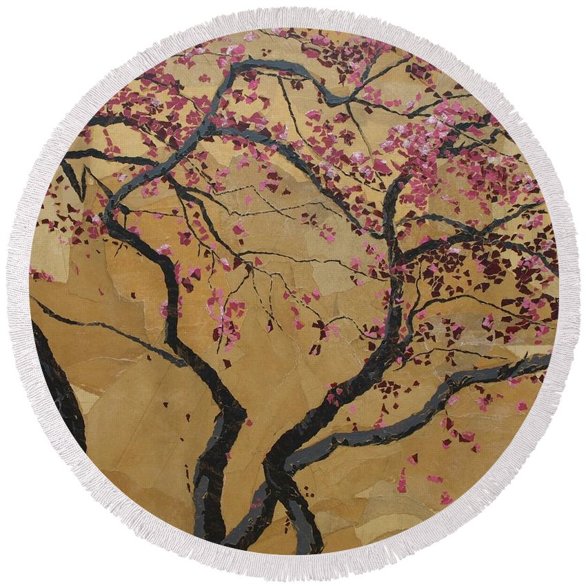 Tree Round Beach Towel featuring the painting Blooming Prairie Fire by Leah Tomaino