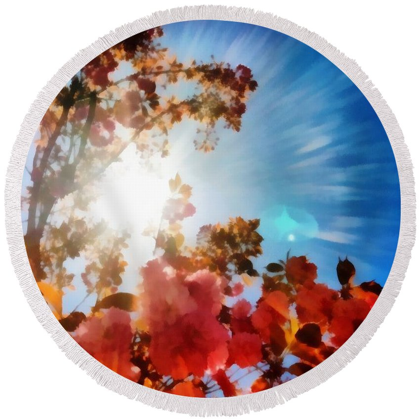 Sacredlife Mandalas Round Beach Towel featuring the painting Blooming Sunlight by Derek Gedney