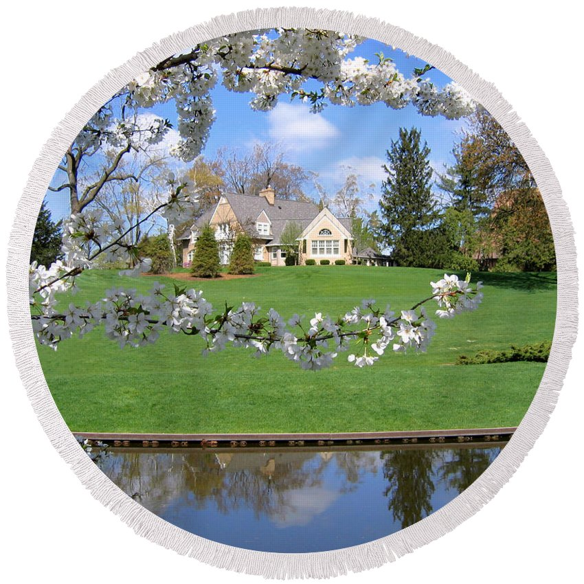 Spring Round Beach Towel featuring the photograph Blossom-framed House by Ann Horn