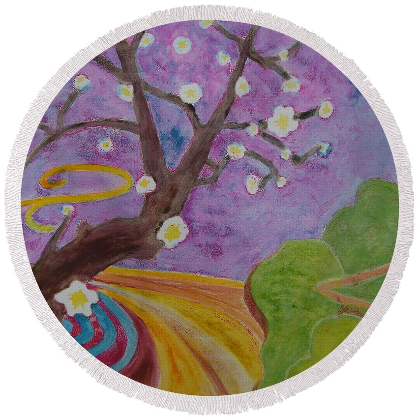 Tree Round Beach Towel featuring the mixed media Blossoms 6 by Karen Coggeshall