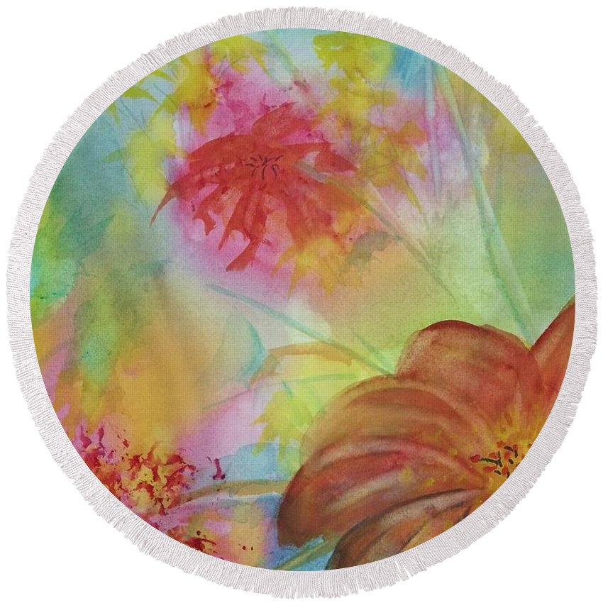 Flowers Round Beach Towel featuring the painting Blossoms by Ellen Levinson