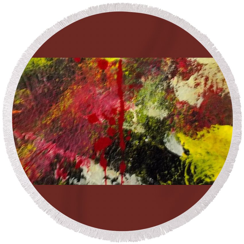 Honesty Non Duality Round Beach Towel featuring the painting Blotted Credibility by Paula Andrea Pyle