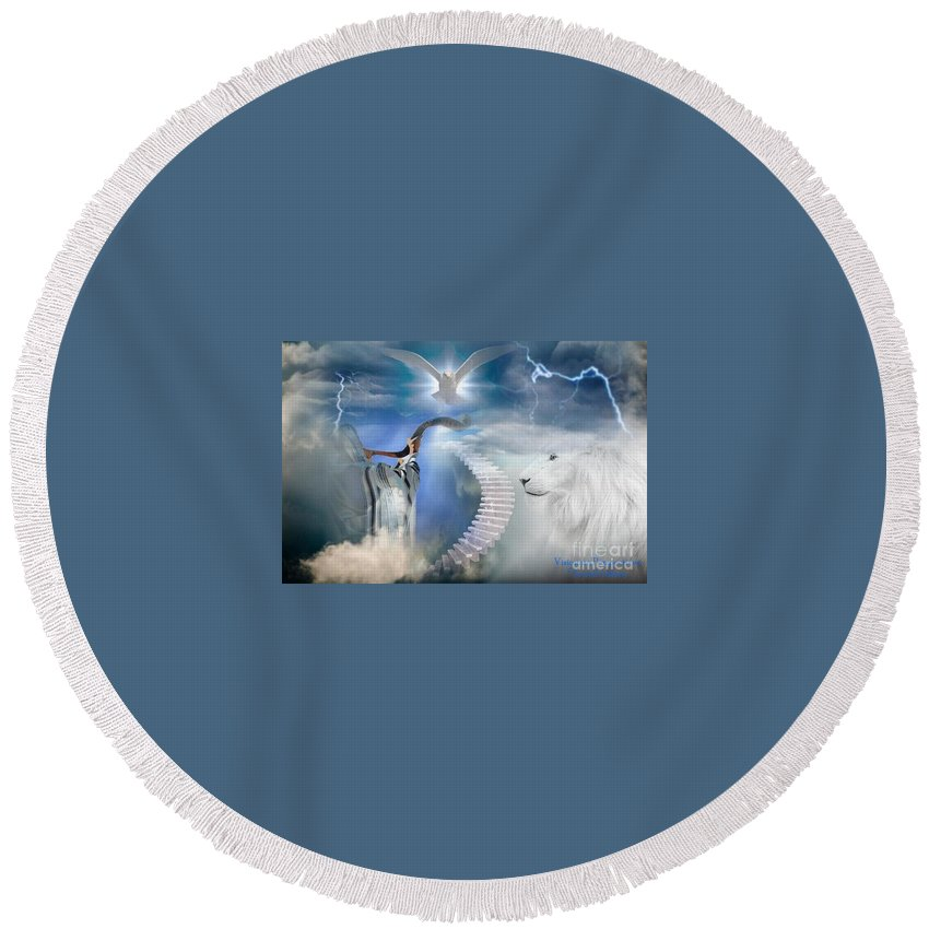 Trumpet Round Beach Towel featuring the digital art Blow The Trumpet In Zion by Jewell McChesney