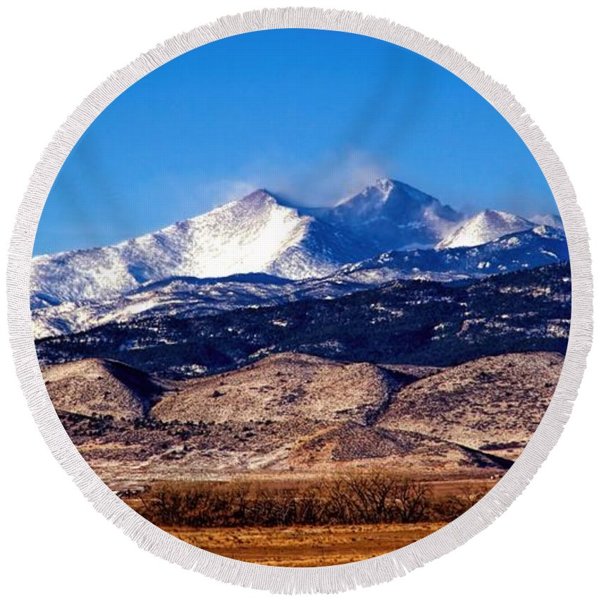 Longs Peak Round Beach Towel featuring the photograph Blow The Wind by Jon Burch Photography