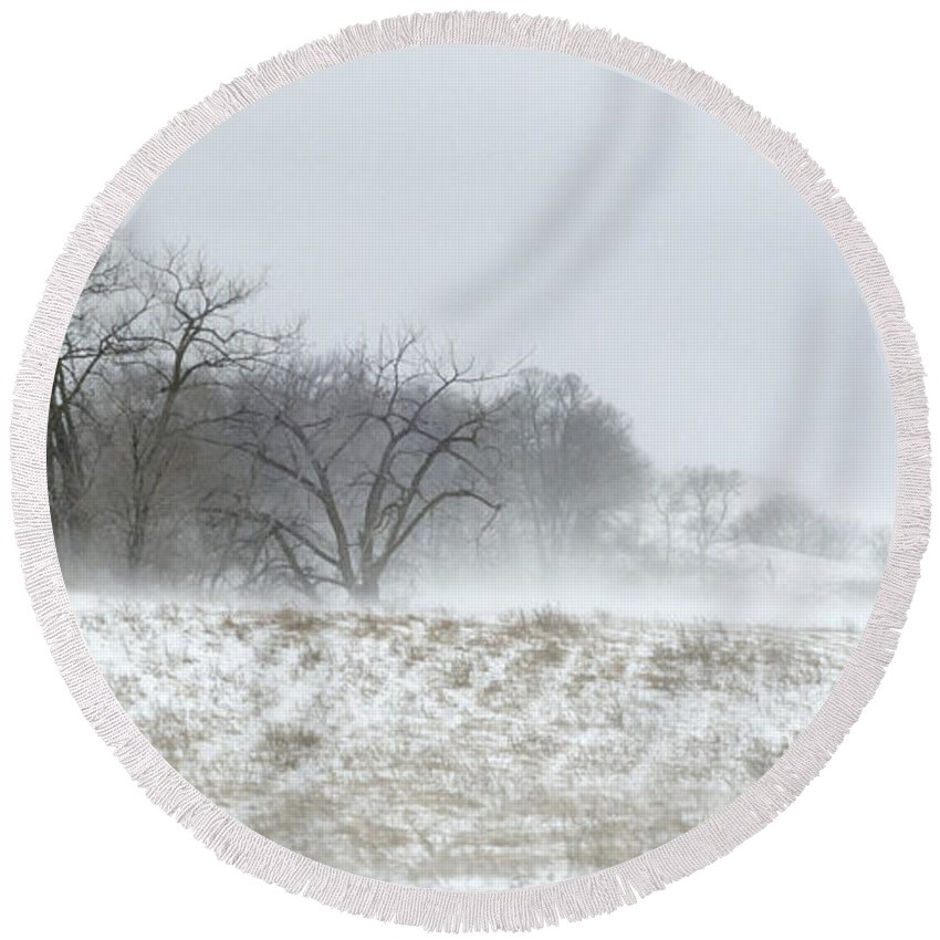 Winter Landscape Round Beach Towel featuring the photograph Blowing Snow Over Fields And Forest by Lynn Hansen