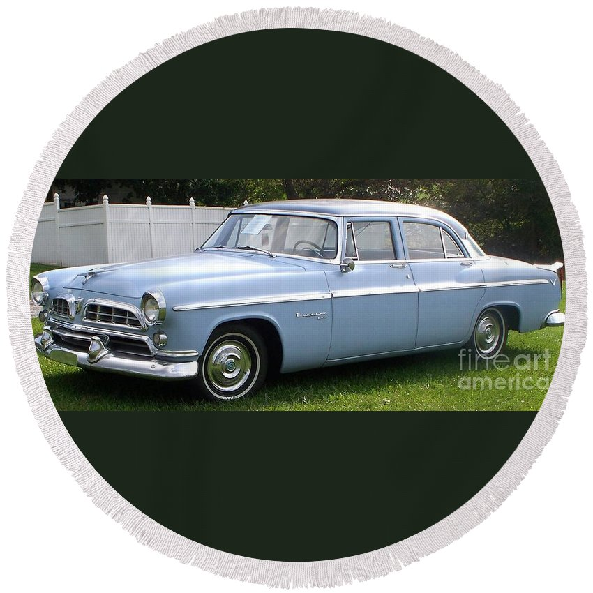 Blue Car Round Beach Towel featuring the photograph Blue 1955-56 Chrysler by Eric Schiabor