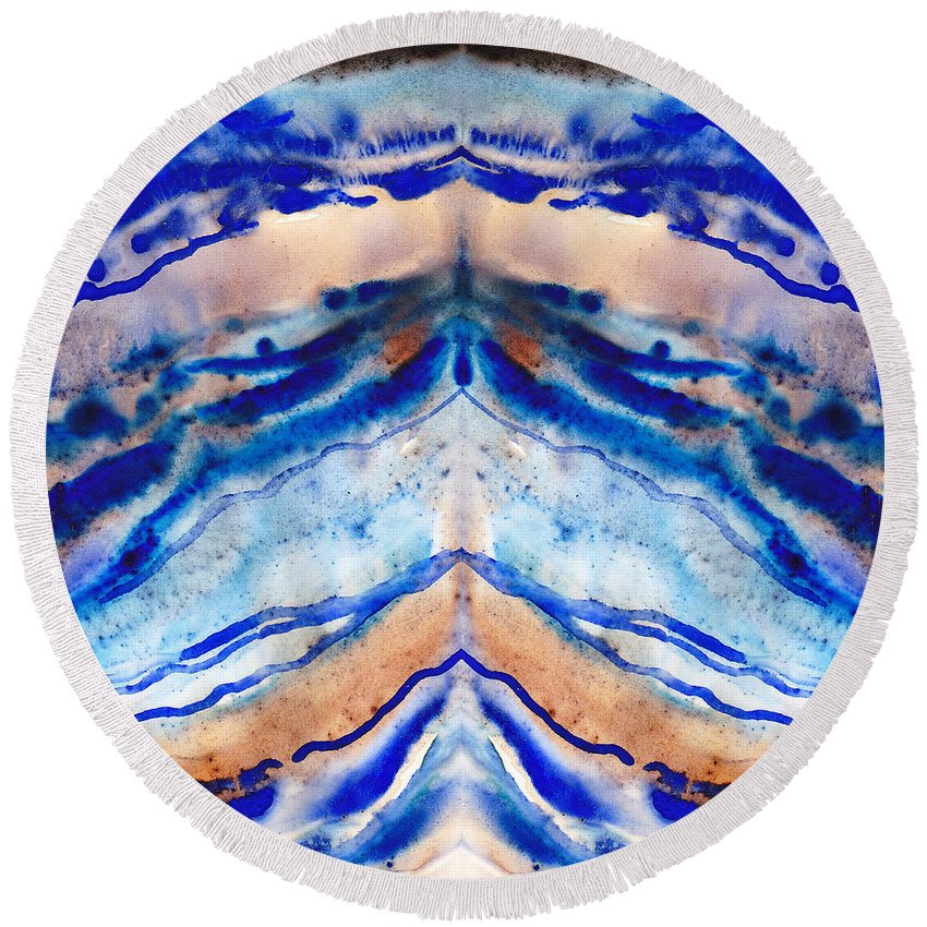 Blue Agate Round Beach Towel featuring the painting Blue Agate Abstract II by Irina Sztukowski
