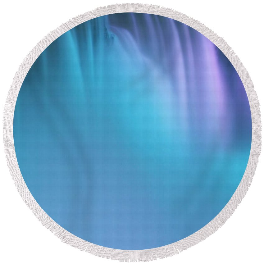 Abstract Round Beach Towel featuring the Blue And Orchid by Kathleen Struckle