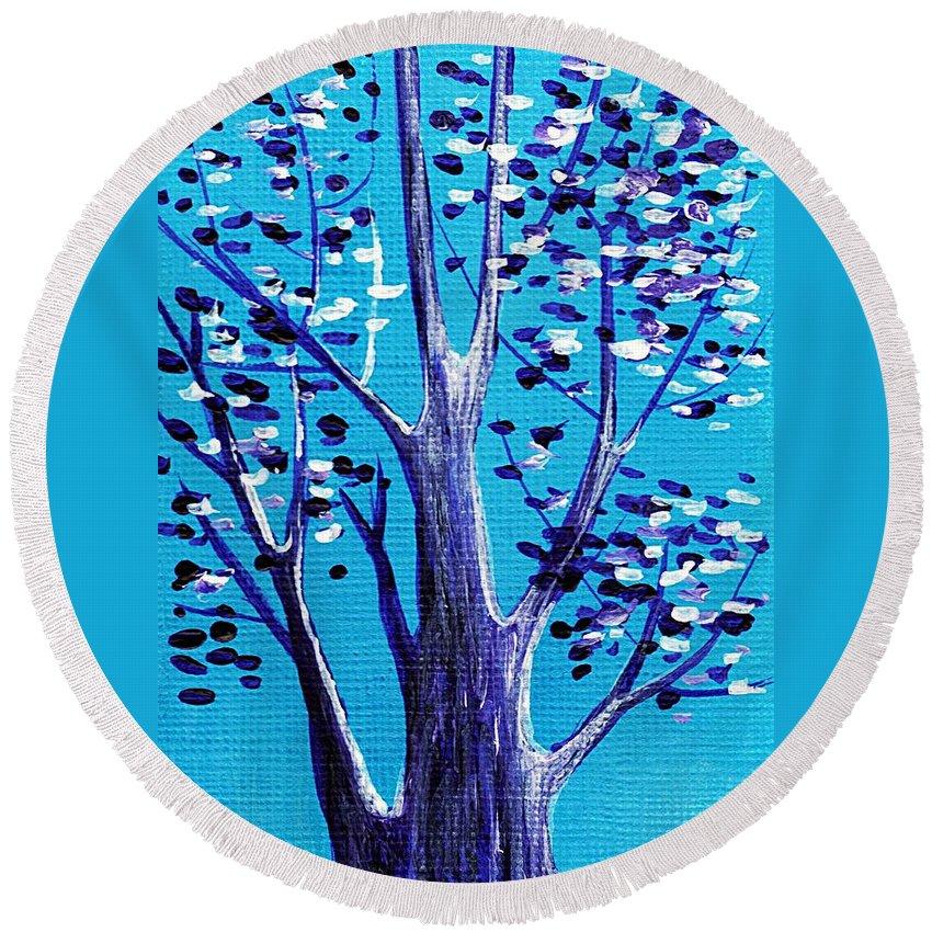 Malakhova Round Beach Towel featuring the painting Blue And White by Anastasiya Malakhova
