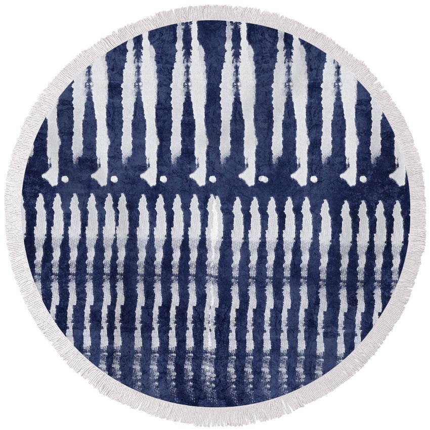Blue Round Beach Towel featuring the painting Blue And White Shibori Design by Linda Woods