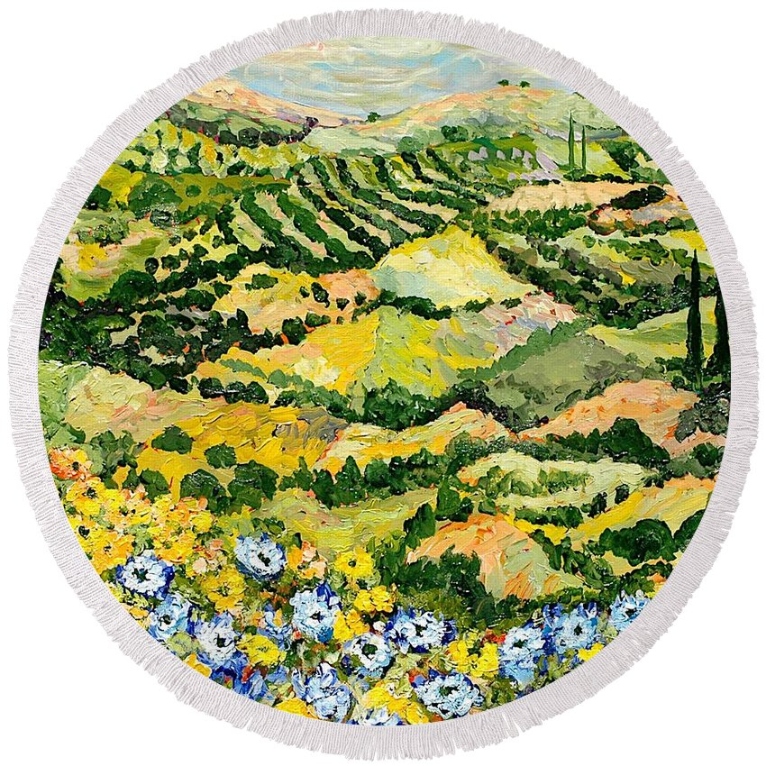 Landscape Round Beach Towel featuring the painting Blue And Yellow by Allan P Friedlander
