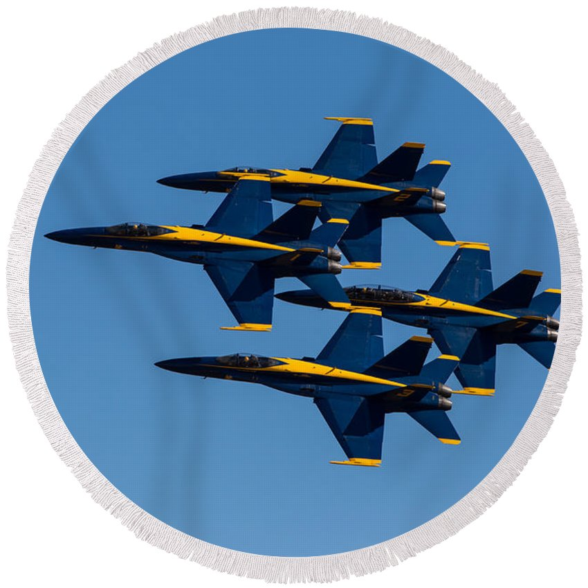 Blue Round Beach Towel featuring the photograph Blue Angel Diamond by John Daly