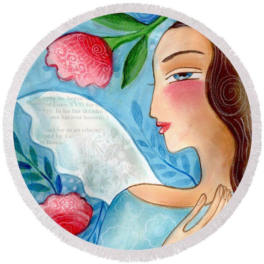 Angel Round Beach Towel featuring the mixed media Blue Angel by Elaine Jackson