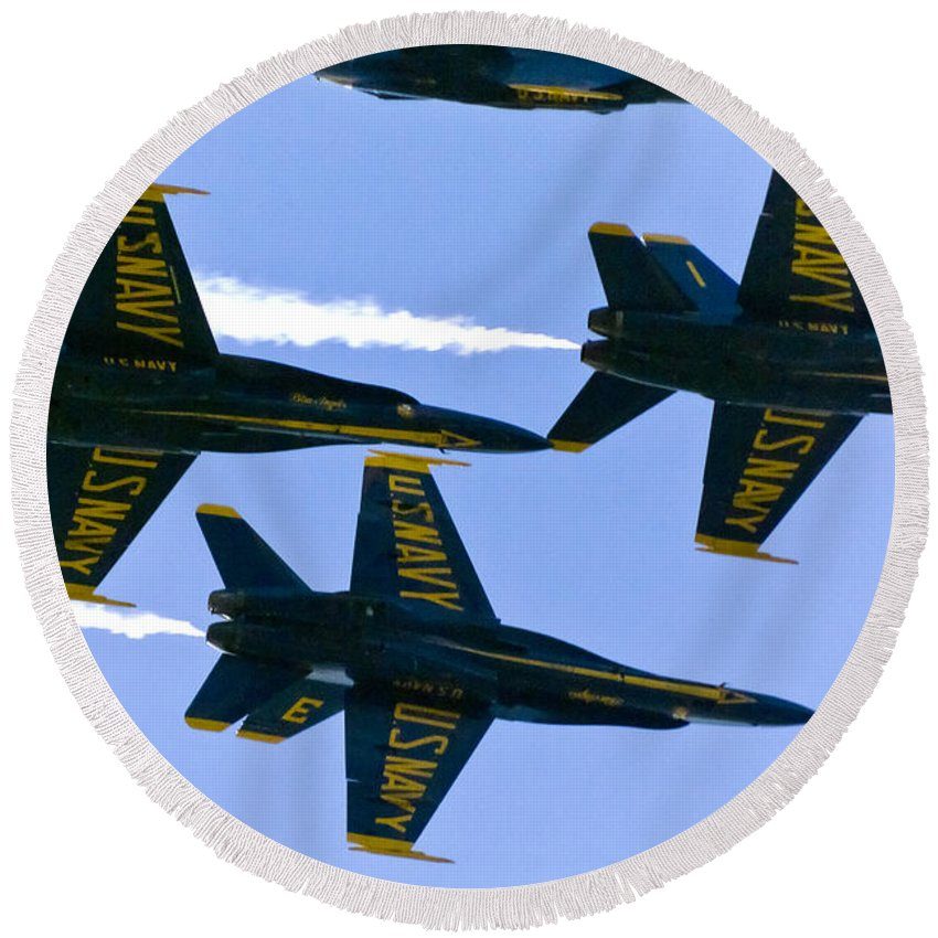 Blue Angels Round Beach Towel featuring the photograph Blue Angels II by Greg Reed