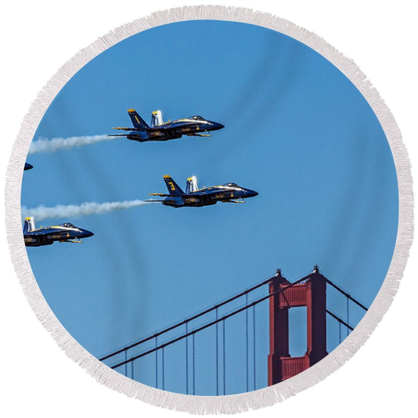 Air Show Round Beach Towel featuring the photograph Blue Angels Over The Golden Gate by Kate Brown