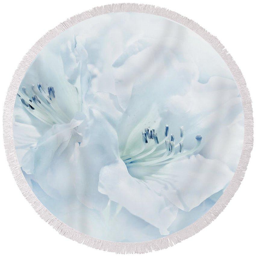 Azalea Round Beach Towel featuring the photograph Blue Azalea Flowers by Jennie Marie Schell