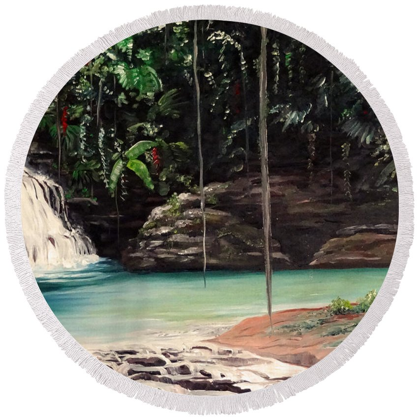Tropical Waterfall Round Beach Towel featuring the painting Blue Basin by Karin Dawn Kelshall- Best