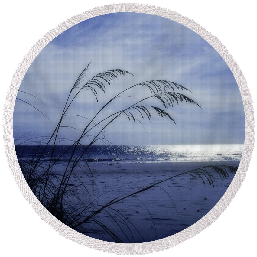 Blue Round Beach Towel featuring the photograph Blue Beach by David and Carol Kelly