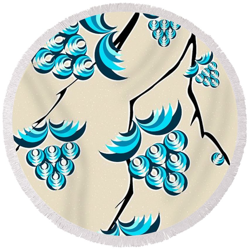 Malakhova Round Beach Towel featuring the digital art Blue Berries Branch by Anastasiya Malakhova