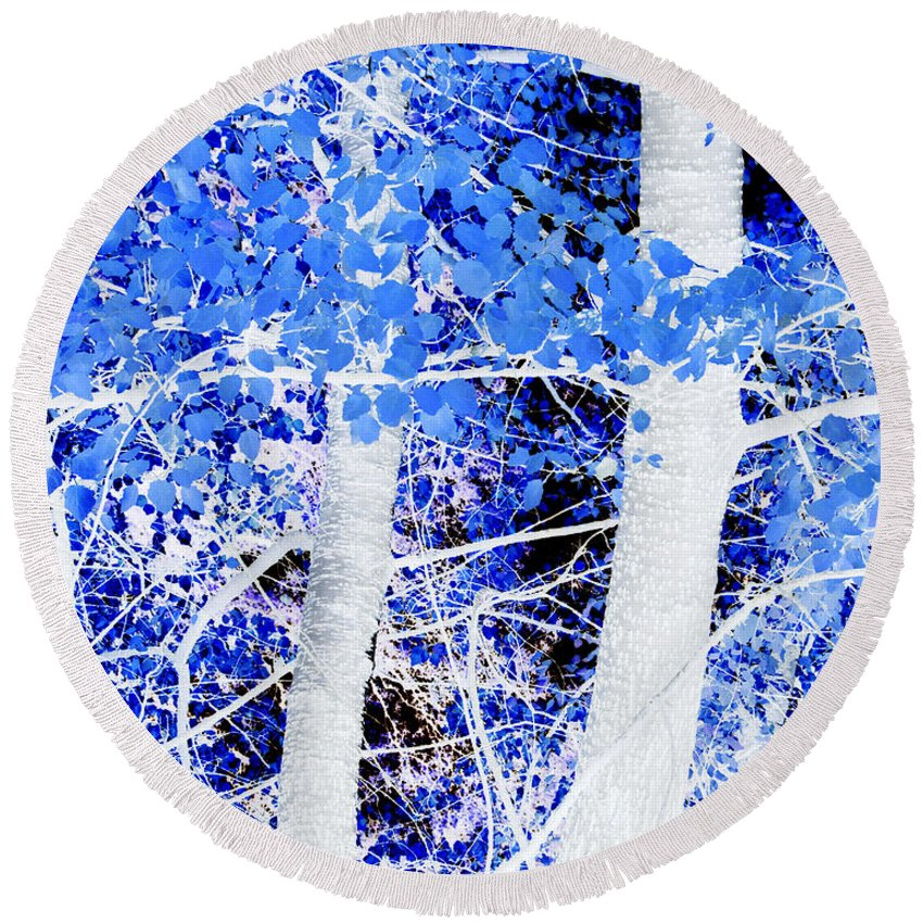 Blue Round Beach Towel featuring the photograph Blue Birch Trees by Jim And Emily Bush
