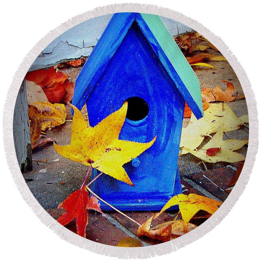 Bird House Round Beach Towel featuring the photograph Blue Bird House by Rodney Lee Williams