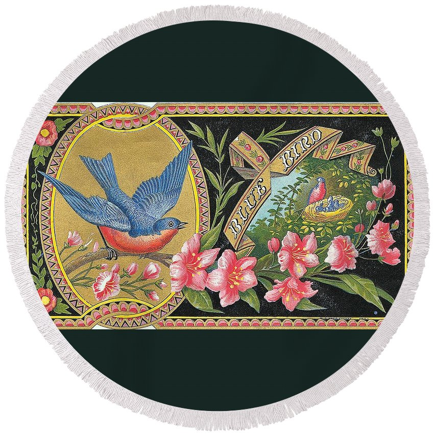 Cigar Label Round Beach Towel featuring the digital art Blue Bird by Label Art