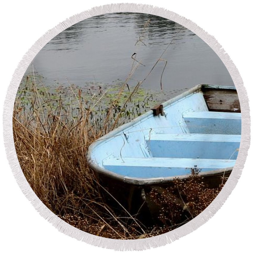 Blue Round Beach Towel featuring the photograph Blue Boat by Ryan Burton