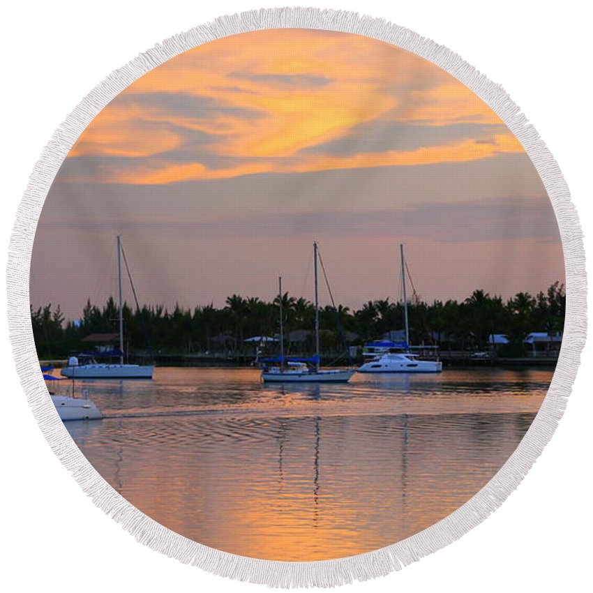 Boat Round Beach Towel featuring the photograph Blue Boats At Sunset by Laurel Talabere