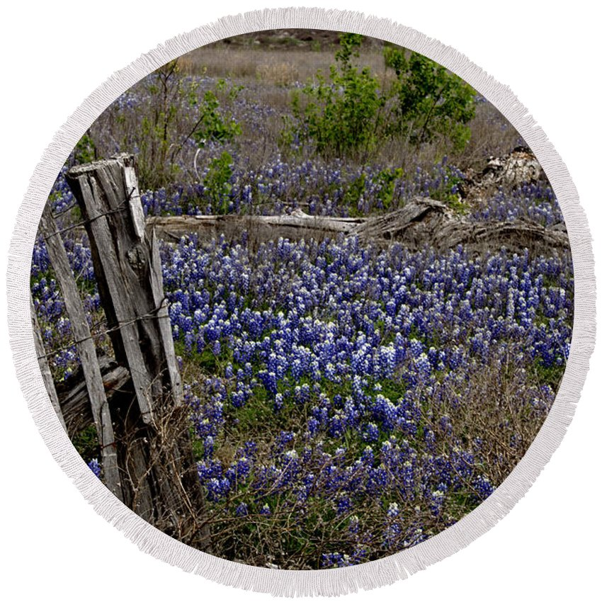 Wildflowers Round Beach Towel featuring the photograph Blue Bonnet Fence V2 by Douglas Barnard
