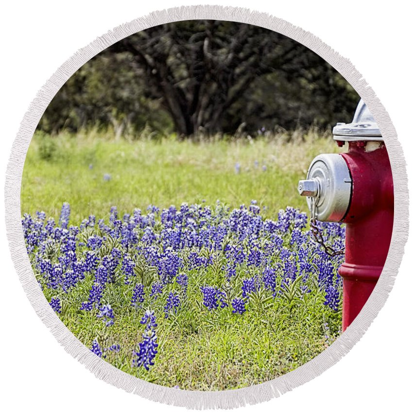 Wildflowers Round Beach Towel featuring the photograph Blue Bonnets Fire Hydrant V2 by Douglas Barnard