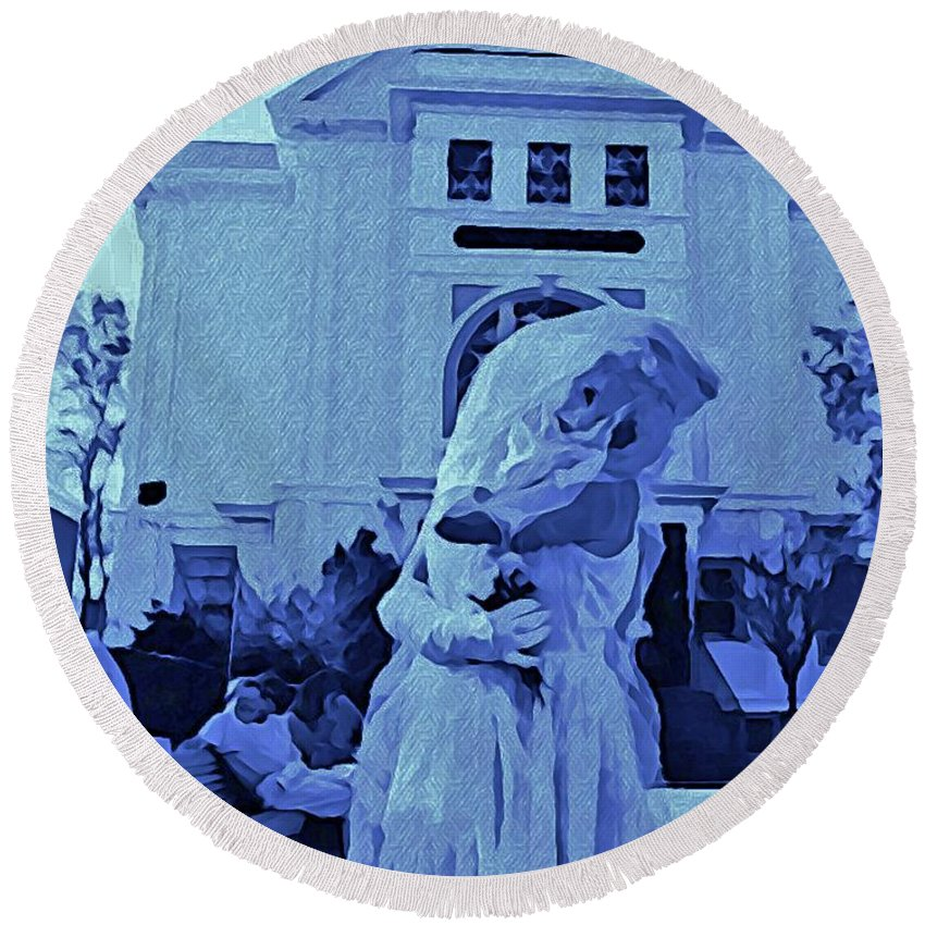 Bride Paintings Round Beach Towel featuring the digital art Blue Bride by John Malone
