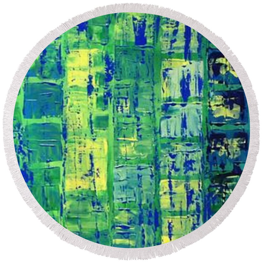 Blue City Round Beach Towel featuring the painting Blue City by Linda Bailey