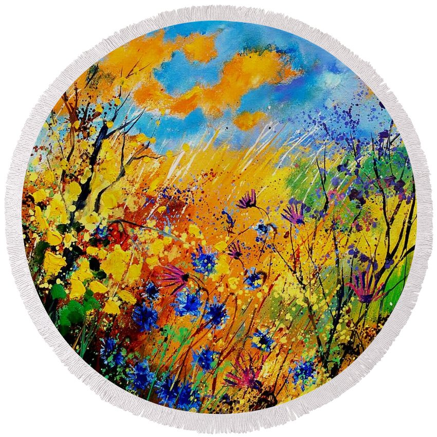 Poppies Round Beach Towel featuring the painting Blue cornflowers 450408 by Pol Ledent