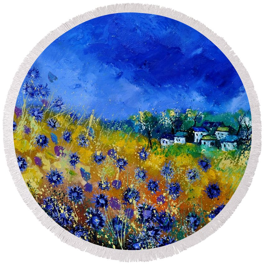 Landscape Round Beach Towel featuring the painting Blue Cornflowers 774180 by Pol Ledent