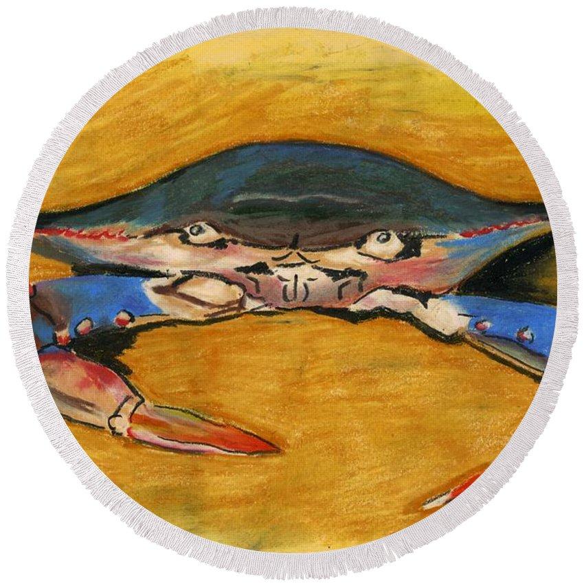 Crab Round Beach Towel featuring the pastel Blue Crab by Katie Sasser