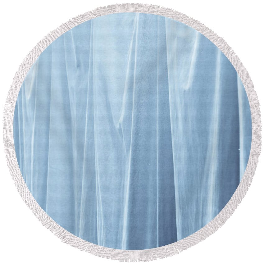 Abstract Round Beach Towel featuring the photograph Blue Curtain by Tom Gowanlock