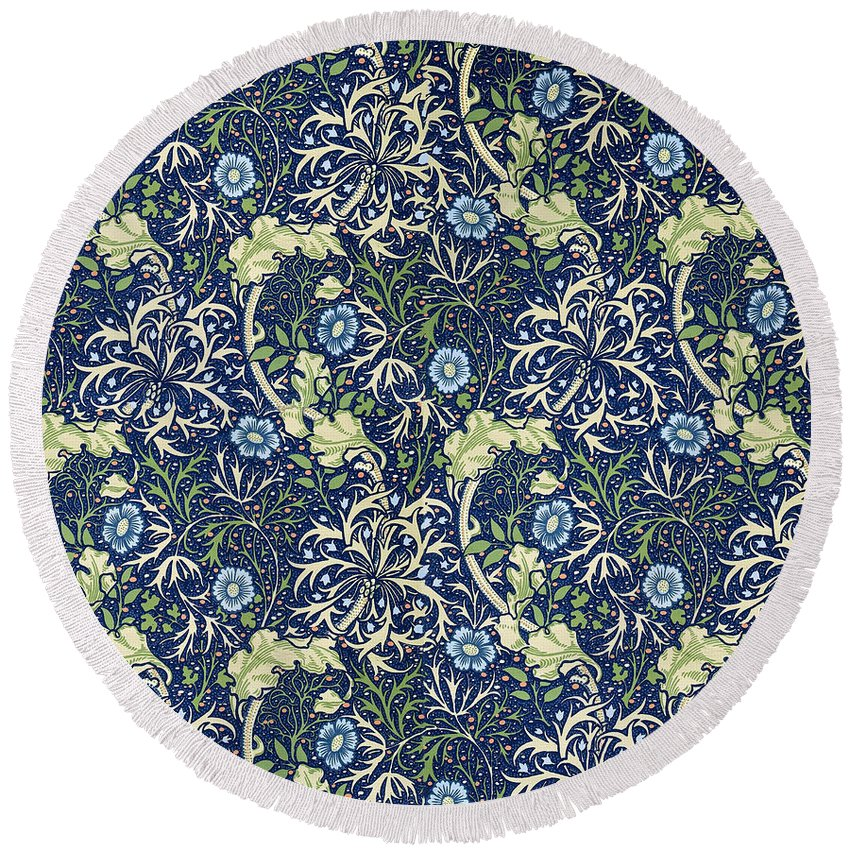 William Round Beach Towel featuring the tapestry - textile Blue Daisies Design by William Morris