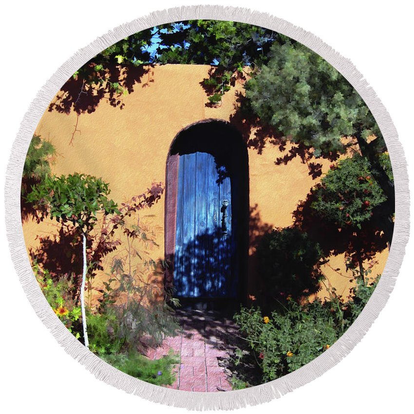 Blue Door Round Beach Towel featuring the photograph Blue Door At Old Mesilla by Kurt Van Wagner