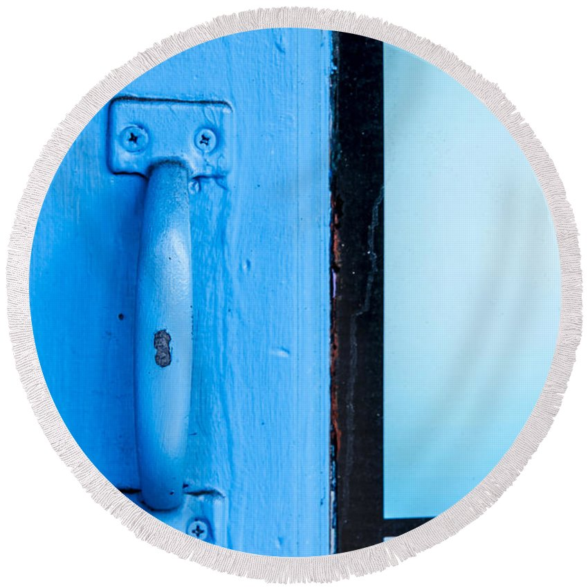 Door Round Beach Towel featuring the photograph Blue Door Handle by Carolyn Marshall